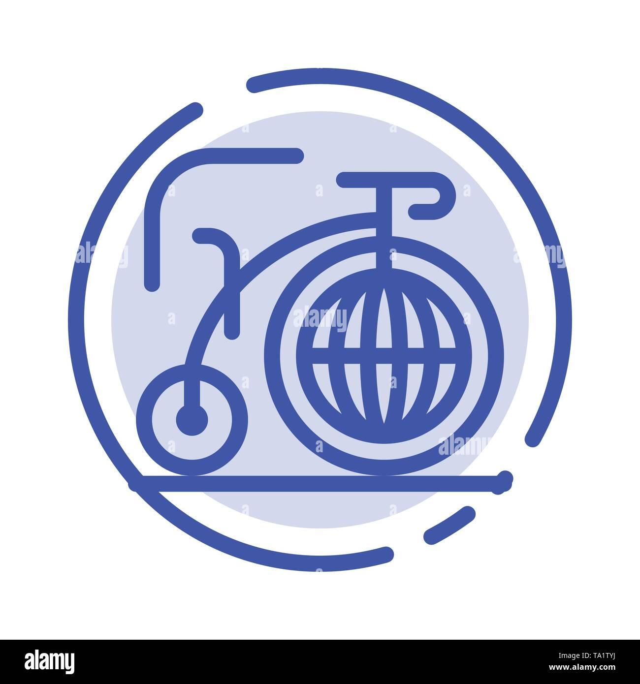 Big, Bike, Dream, Inspiration Blue Dotted Line Line Icon - Stock Image