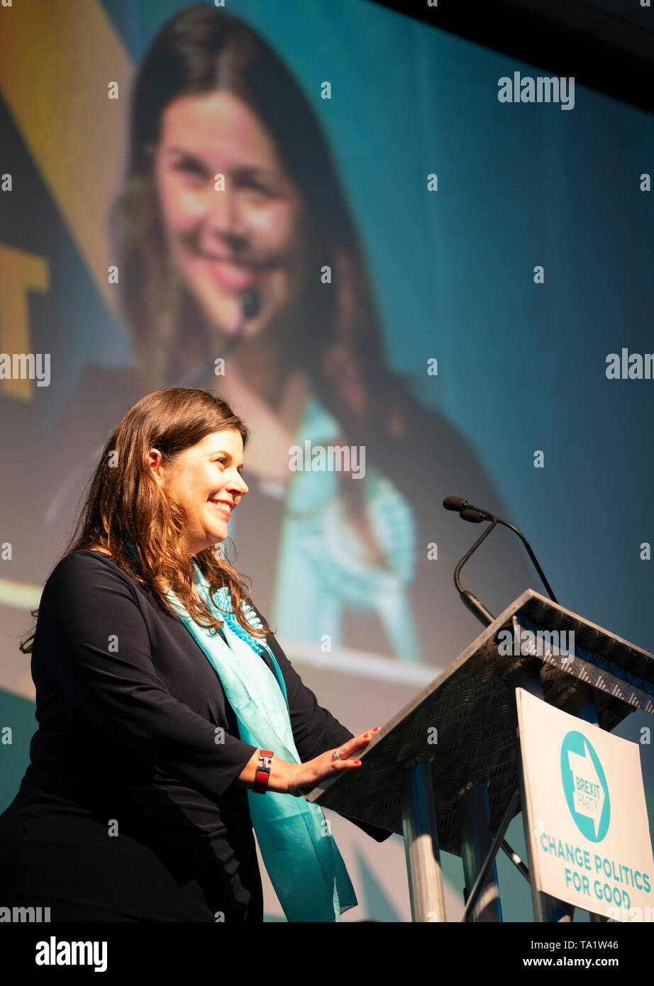 Karina Walker Brexit Party candidate in European Elections 2019 speaks at meeting in Edinburgh on 17 May 2019, Scotland, UK Stock Photo