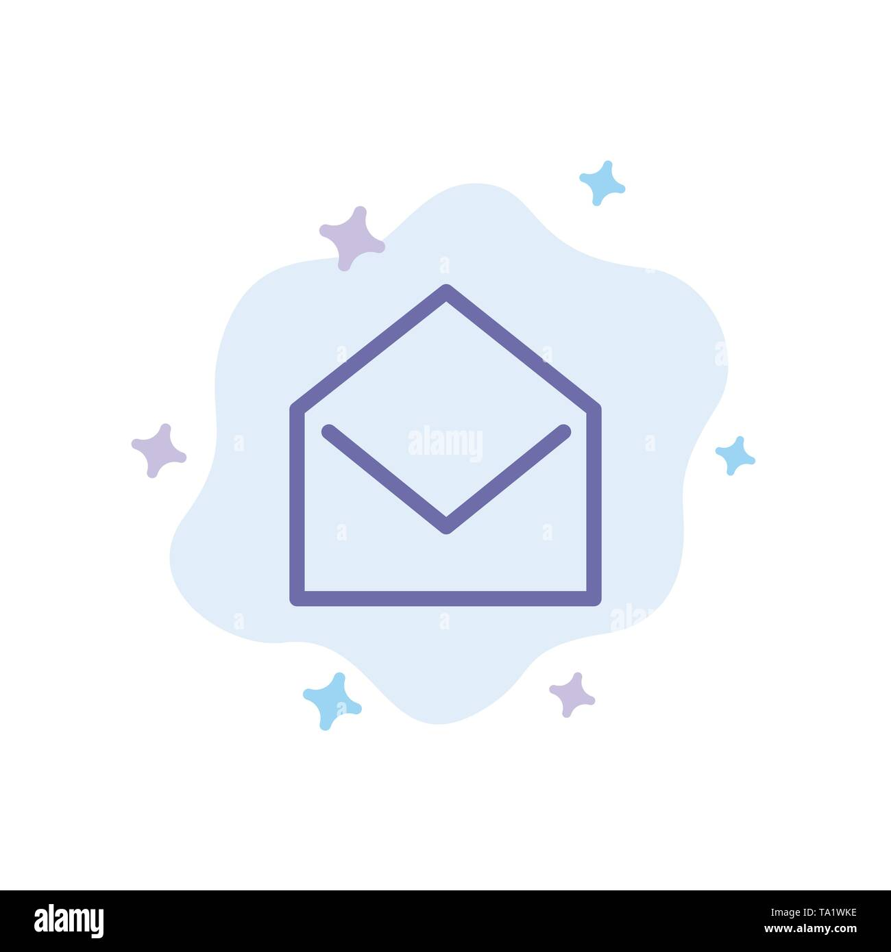 Business, Mail, Message, Open Blue Icon on Abstract Cloud Background - Stock Image