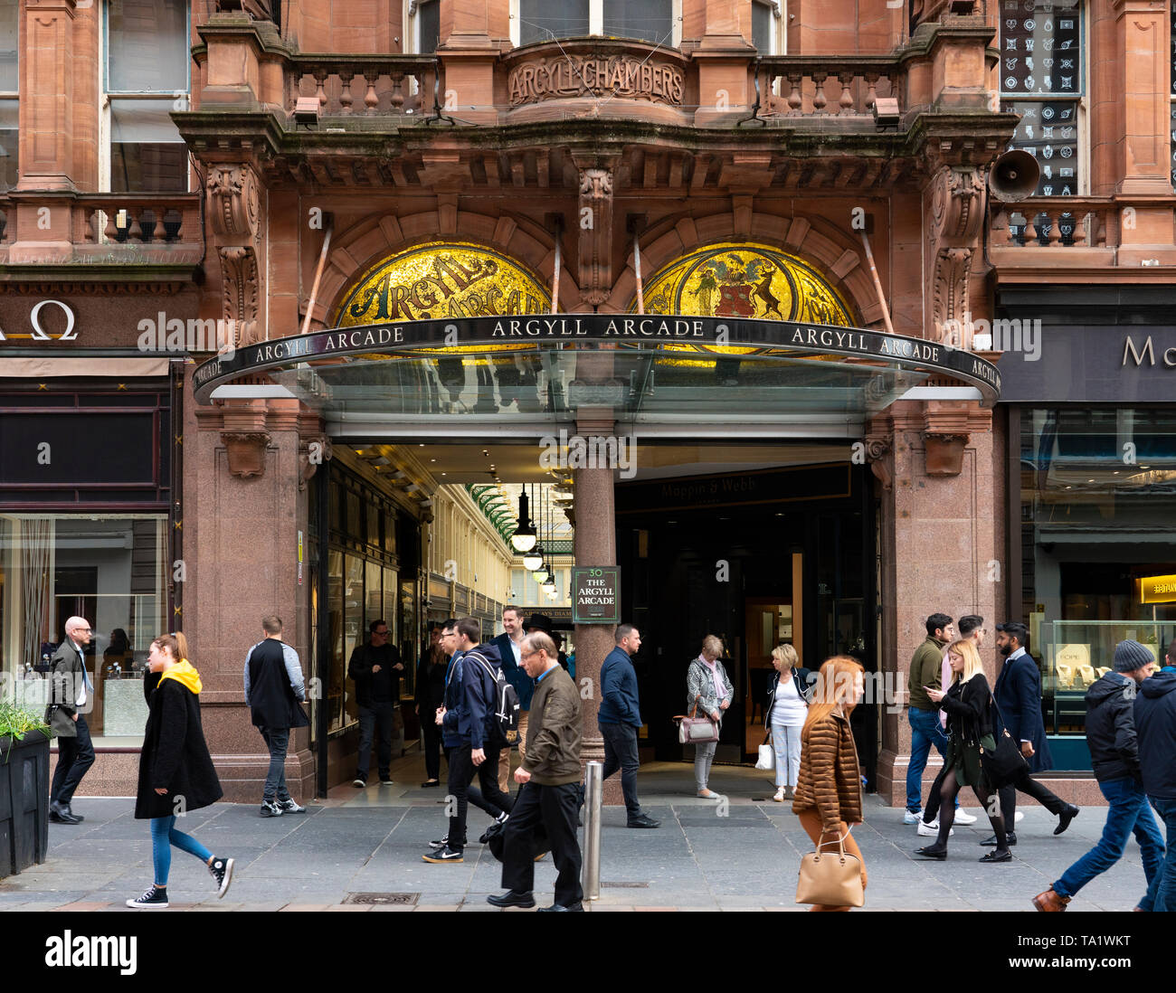 Exterior of historic Argyll Arcade with many jewellery shops in Glasgow city Centre, Scotland, UK - Stock Image