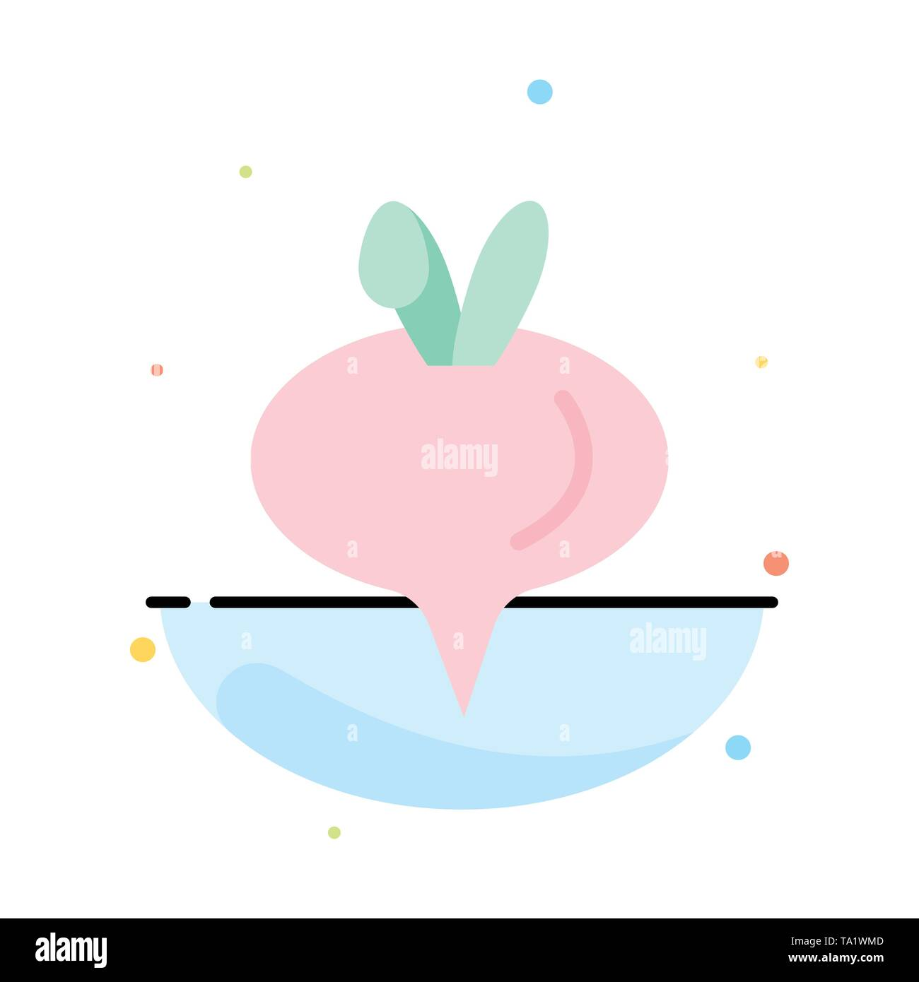 Food, Turnip, Vegetable Abstract Flat Color Icon Template - Stock Image