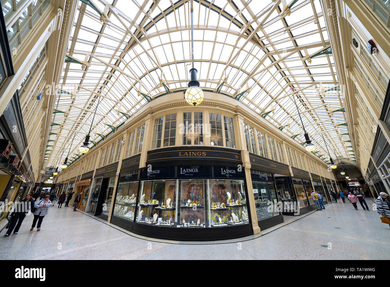 Interior of historic Argyll Arcade with many jewellery shops in Glasgow city Centre, Scotland, UK - Stock Image