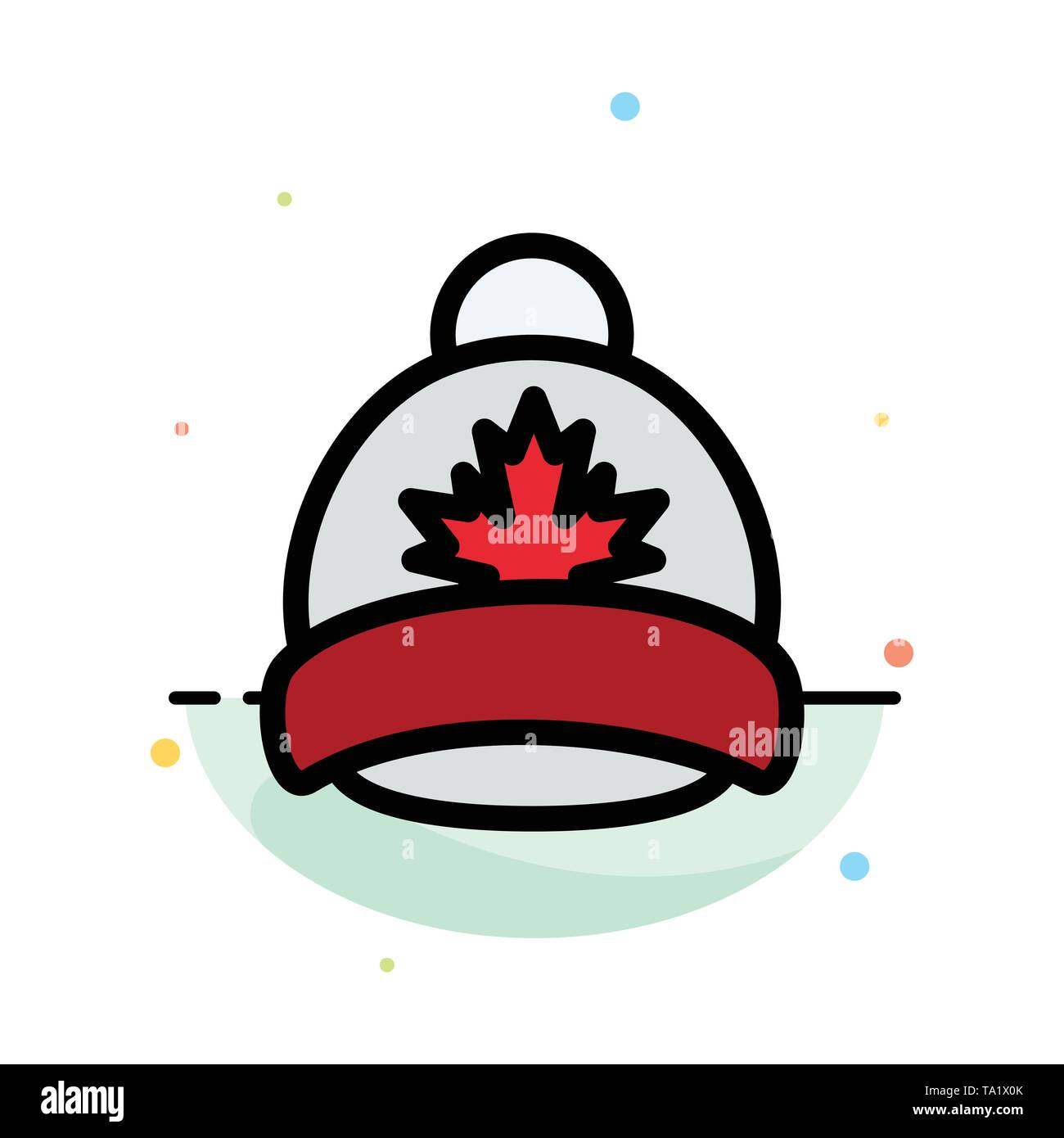Hat, Cap, Leaf, Canada Abstract Flat Color Icon Template - Stock Image