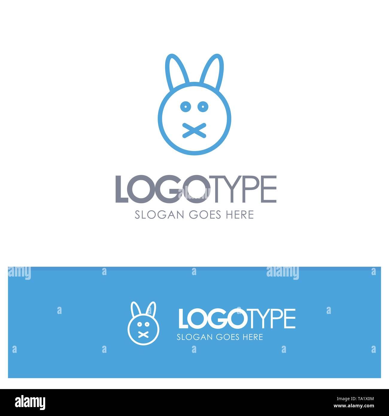 Bunny, Easter, Rabbit Blue Outline Logo Place for Tagline - Stock Image