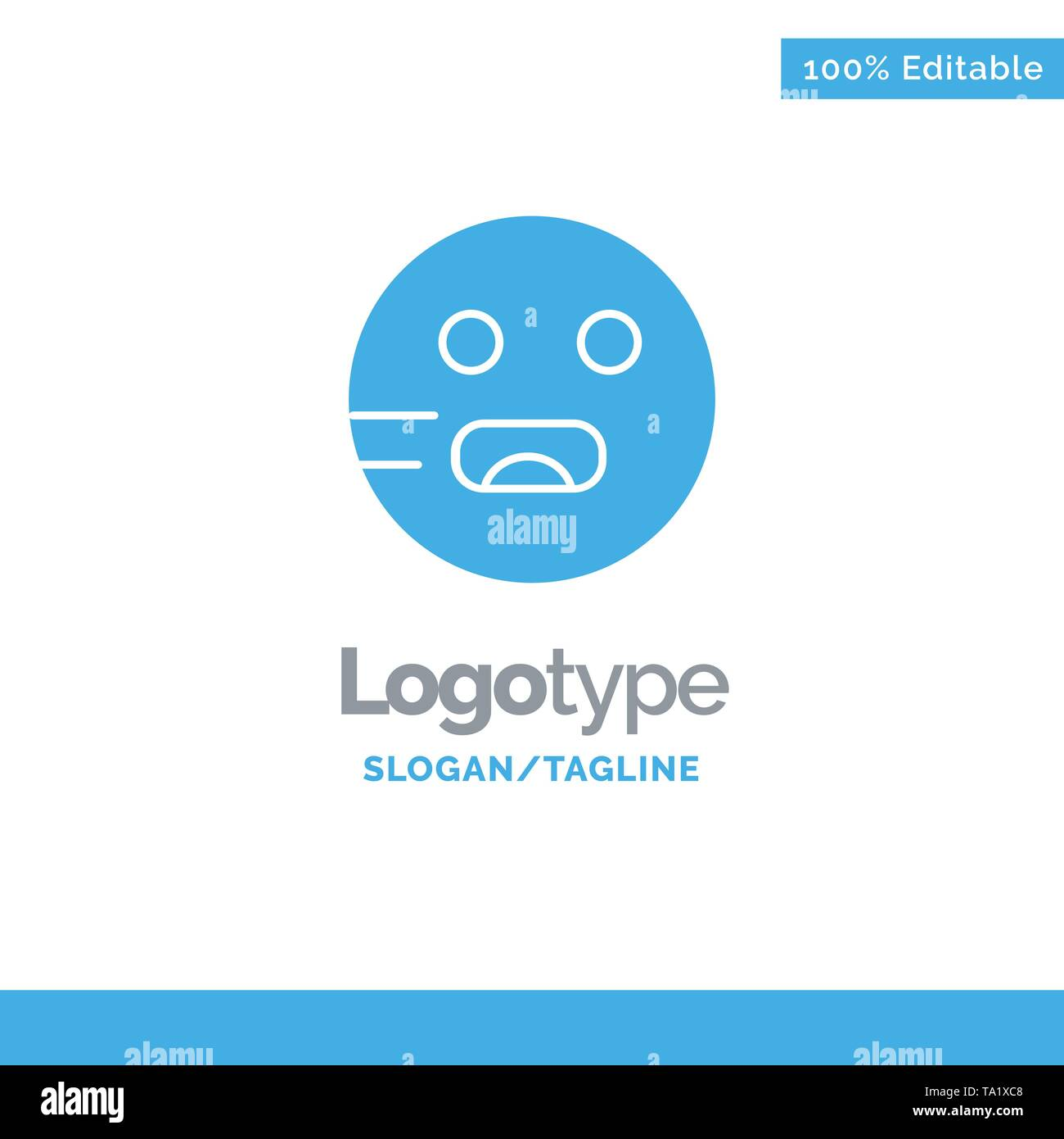 Emojis, Emoticon, Hungry, School Blue Solid Logo Template. Place for Tagline - Stock Image