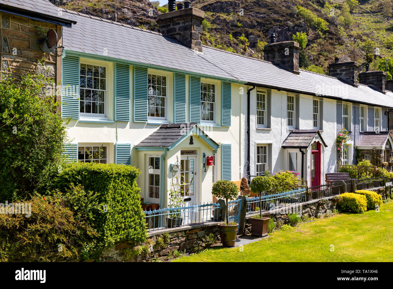 Beddgelert Gwnedd Wales May 13, 2019 Attractive row of old cottages in Beddgelert, in the Snowdonia National Park Stock Photo