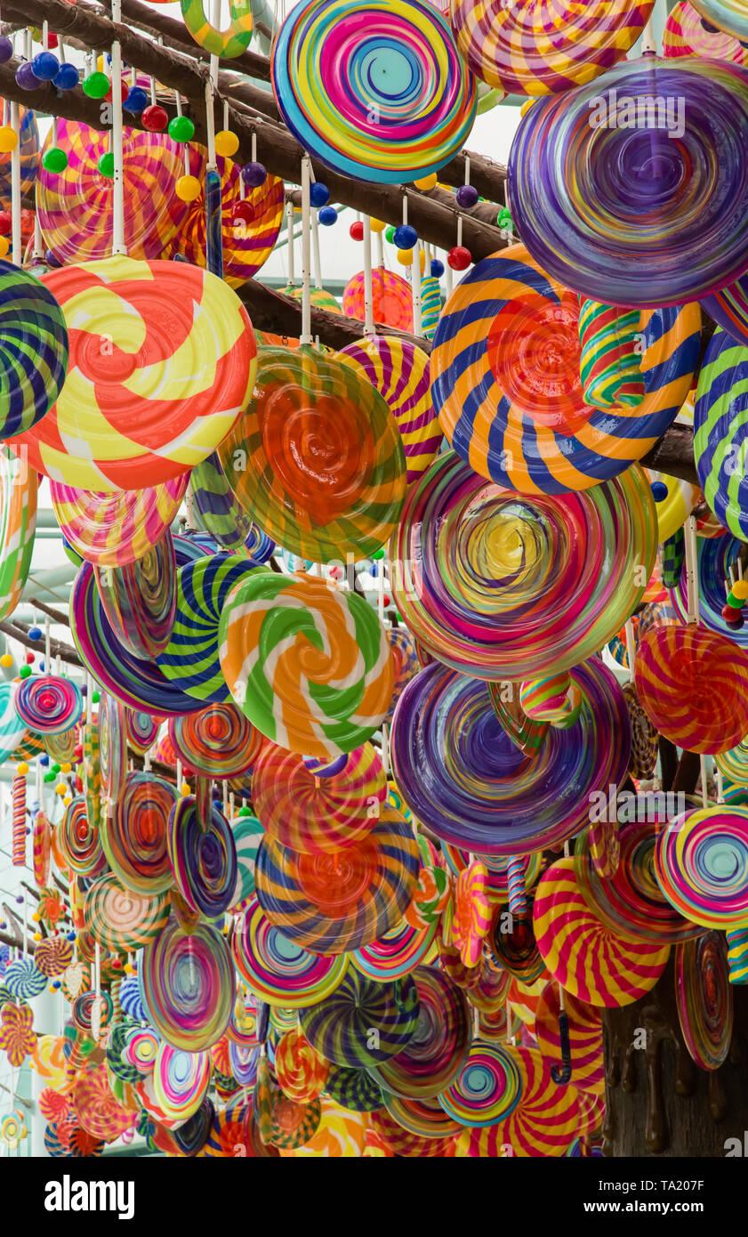 colorful Lollipop tree balloon closeup view - Stock Image