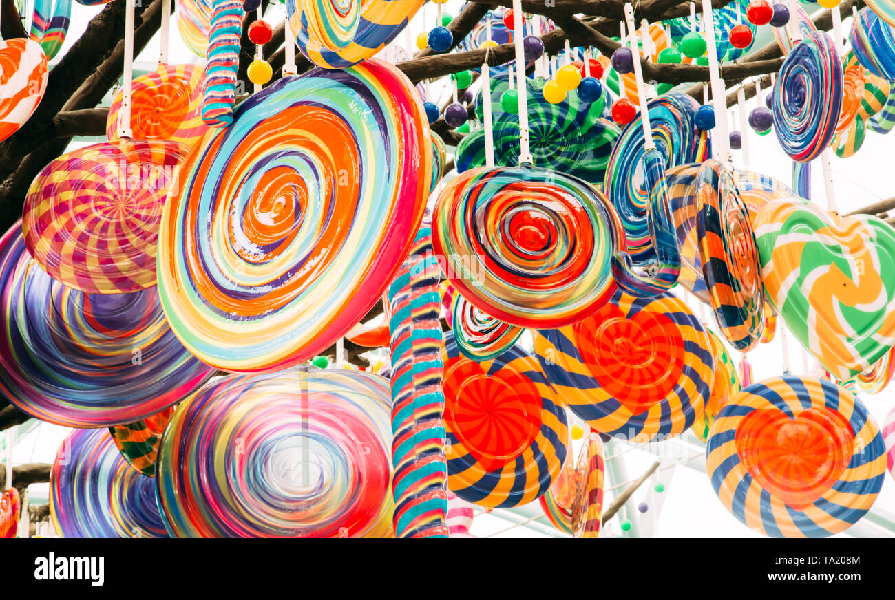 colorful Lollipop tree balloon closeup view Stock Photo