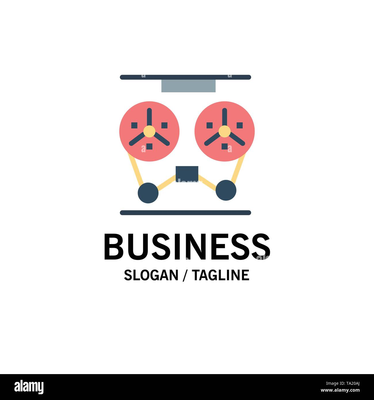 Audio, Player, Record, Recorder, Reel Business Logo Template. Flat Color - Stock Image