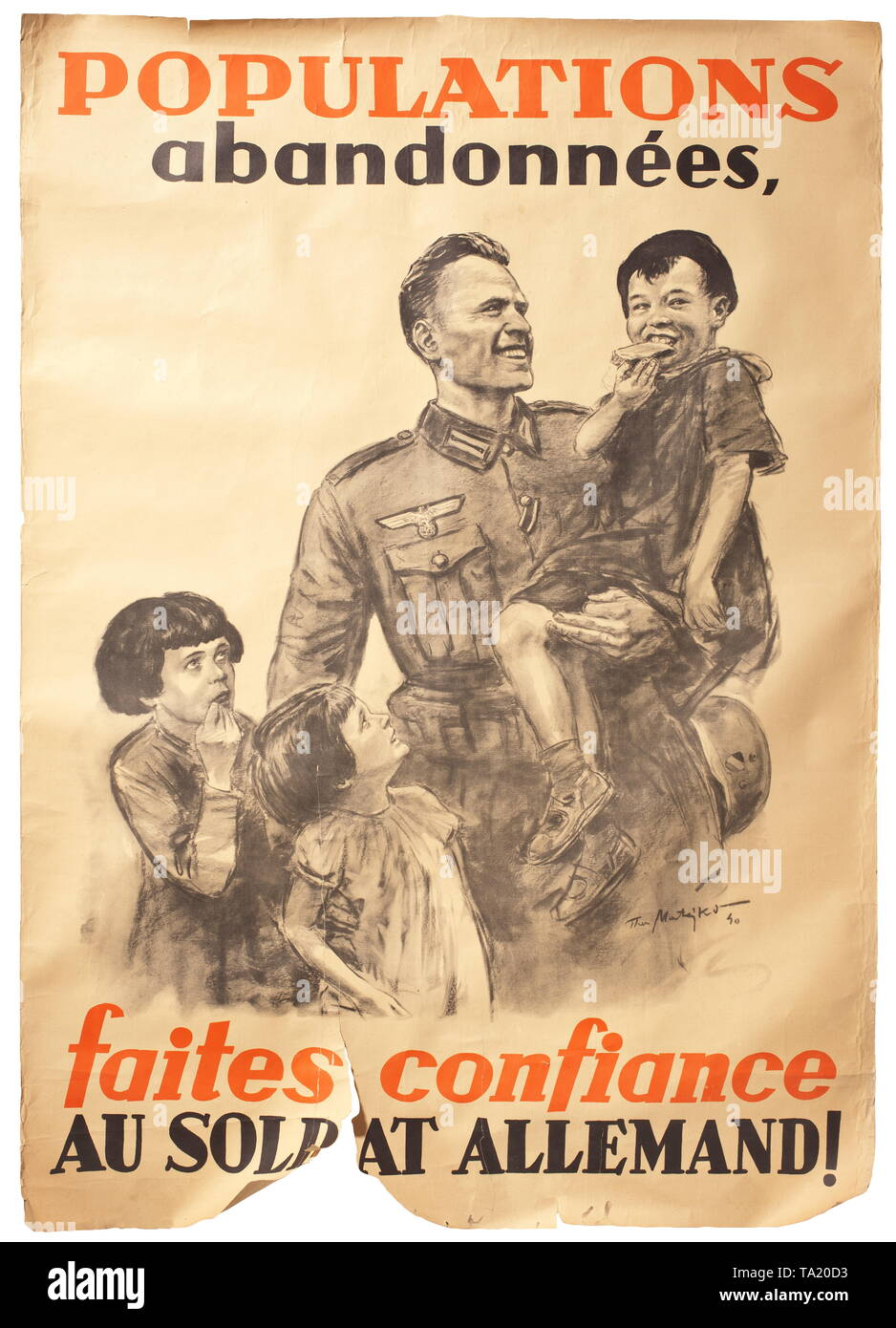 A French Wehrmacht propaganda poster designed by Theo Matejko (1893 - 1946), 1940 historic, historical, 20th century, Editorial-Use-Only - Stock Image