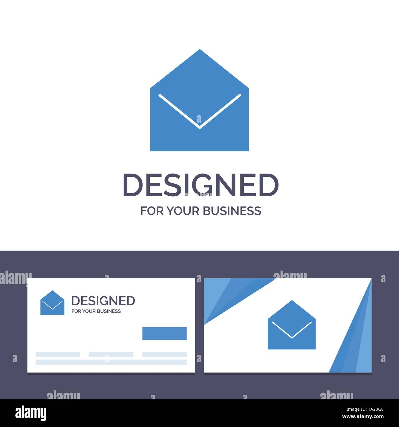 Creative Business Card and Logo template Business, Mail, Message, Open Vector Illustration - Stock Image