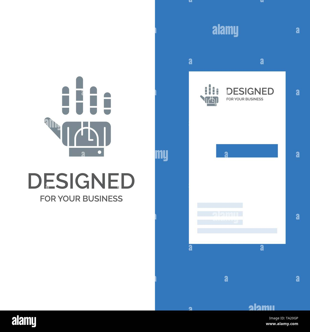 Tracking, Glove, Hand, Technology Grey Logo Design and Business Card Template - Stock Vector