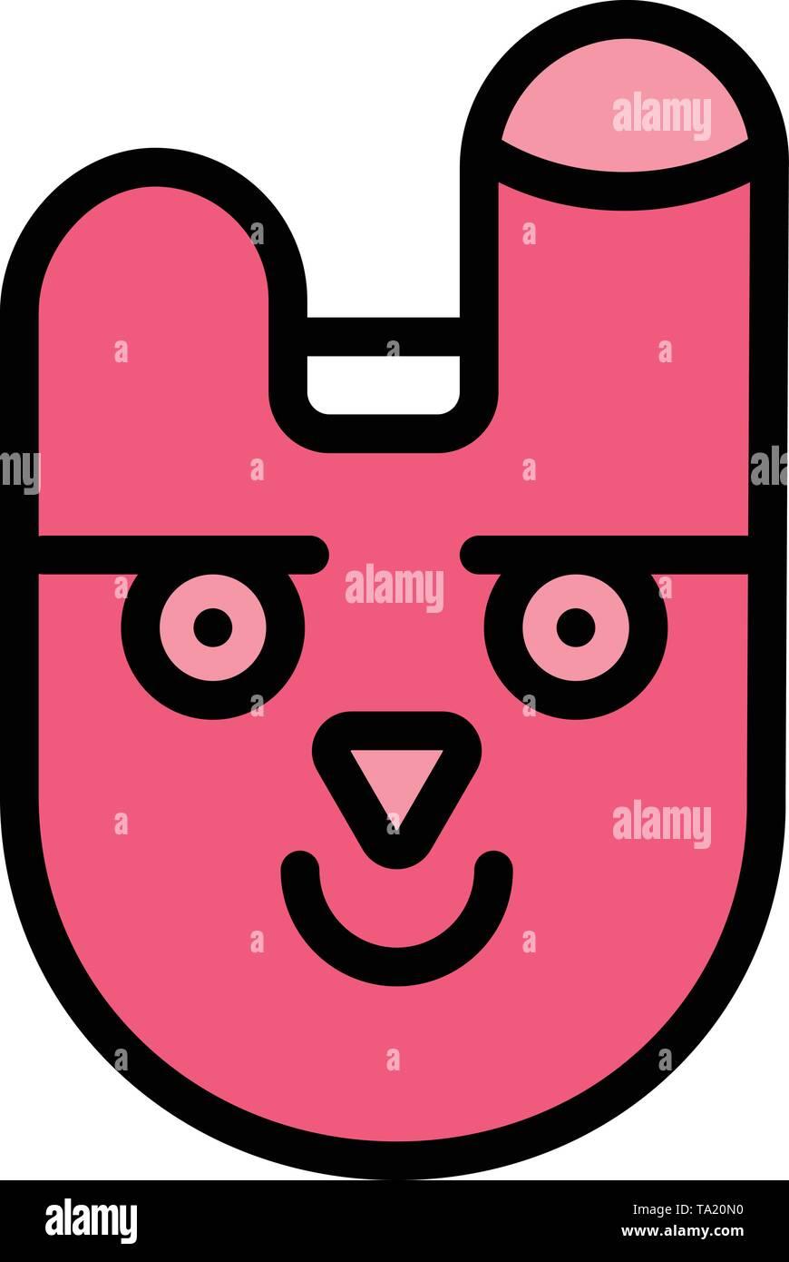 Animal, Bunny, Face, Rabbit Business Logo Template. Flat Color - Stock Image