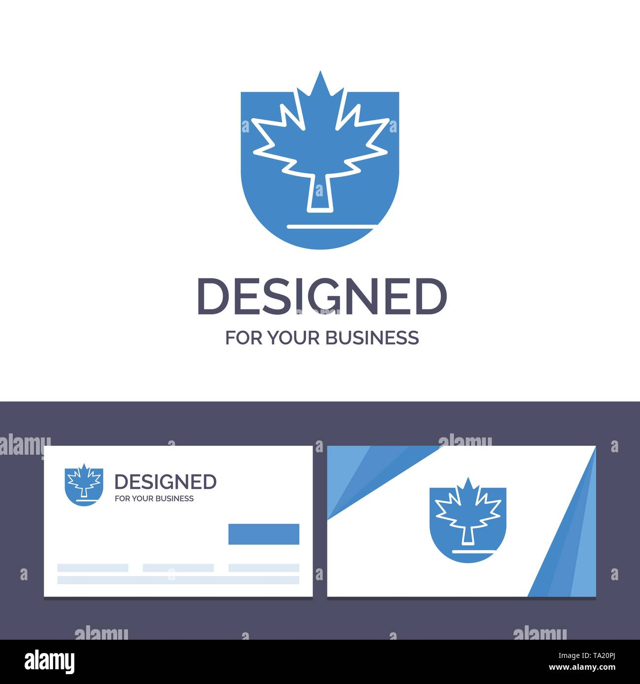 Creative Business Card and Logo template Security, Leaf, Canada, Shield Vector Illustration - Stock Image