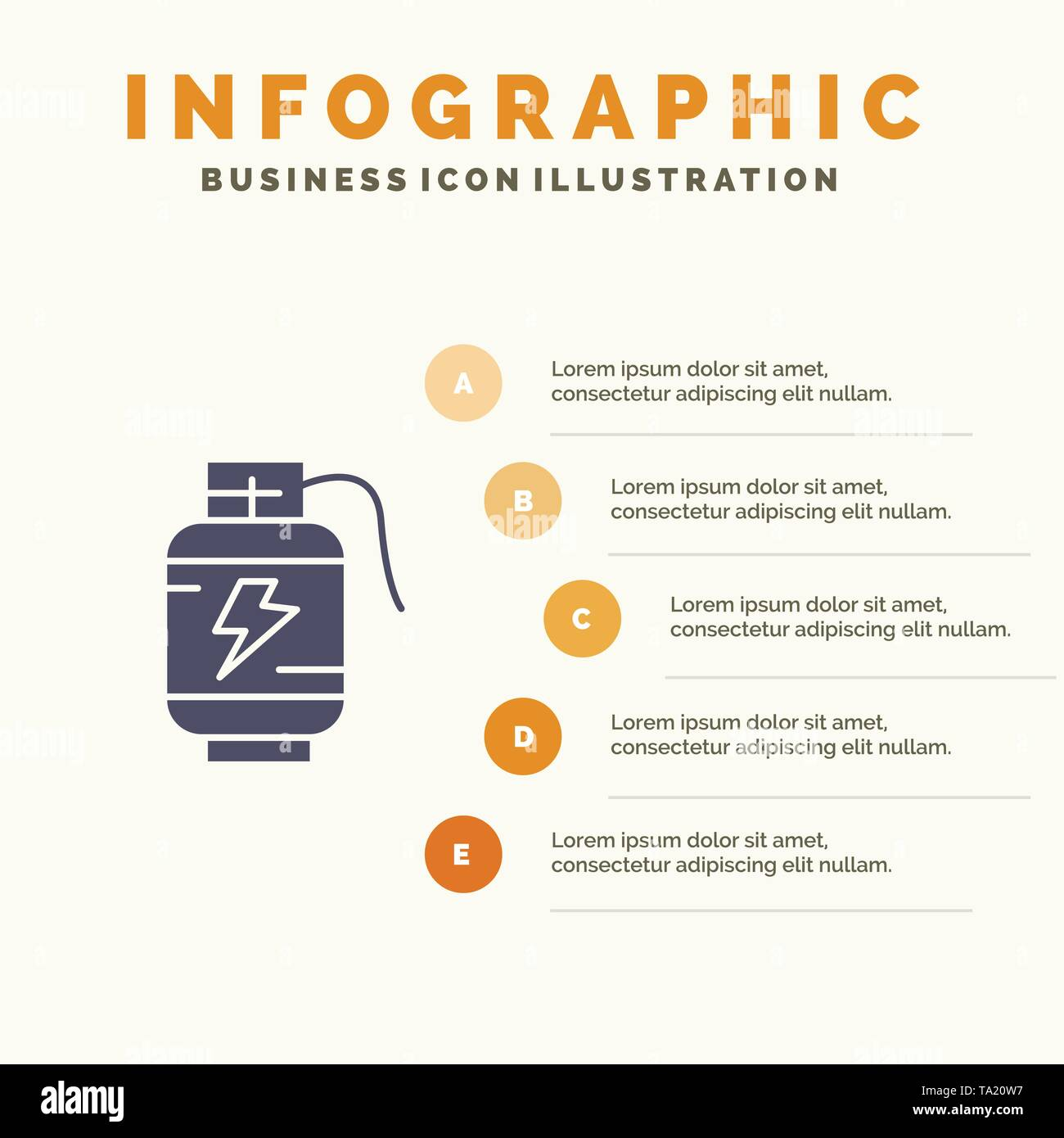 Accumulator, Battery, Power, Charge Solid Icon Infographics 5 Steps Presentation Background - Stock Image