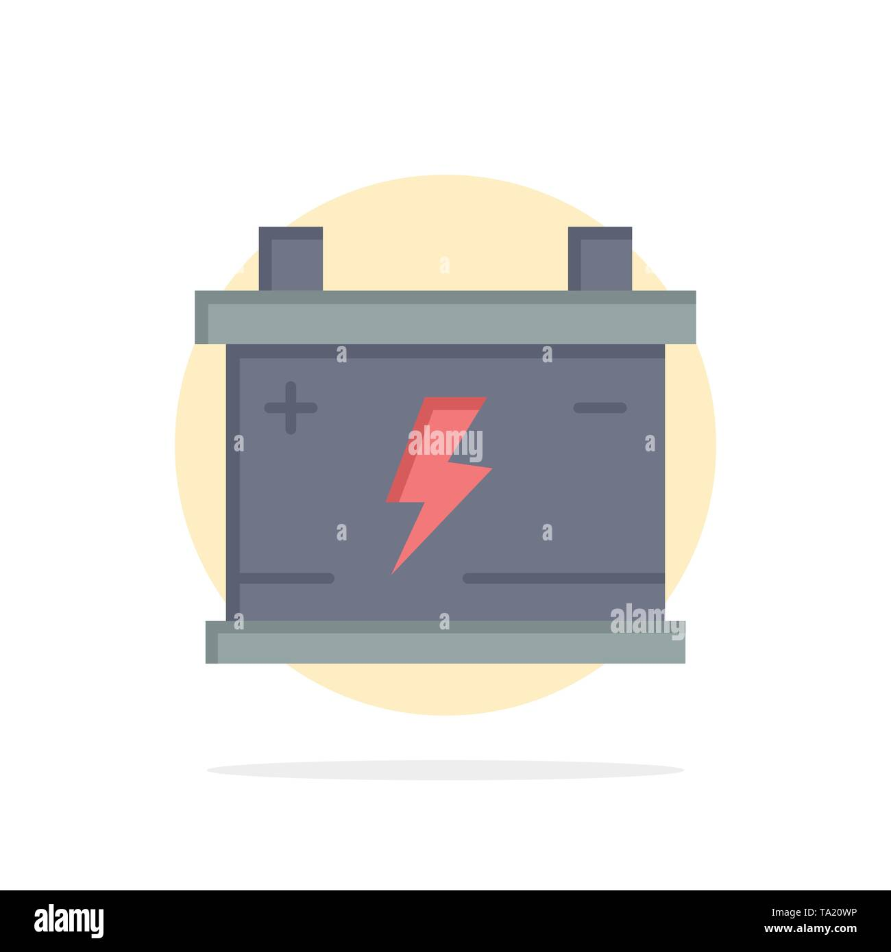 Accumulator, Battery, Power, Car Abstract Circle Background Flat color Icon - Stock Image