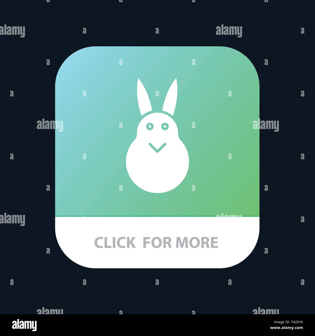 Bunny, Easter, Easter Bunny, Rabbit Mobile App Button. Android and IOS Glyph Version - Stock Image