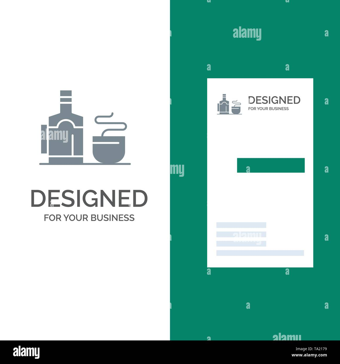 Tea, Cup, Hot, Hotel Grey Logo Design and Business Card Template - Stock Image