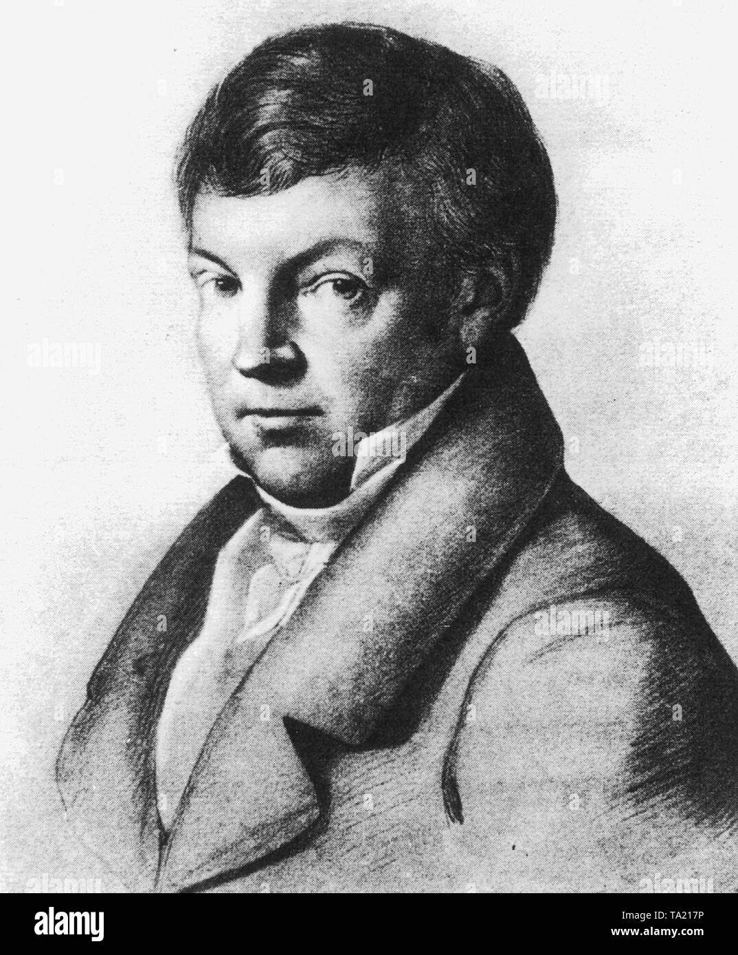 Sulpiz Boisseree (1783-1854), an art scholar and art collector who campaigned, together with his brother Melchior, for the completion of the Cologne Cathedral. Their important collection of German and Dutch paintings from the Middle Ages was acquired in 1827 by King Ludwig I of Bavaria for the Alte Pinakothek in Munich. - Stock Image