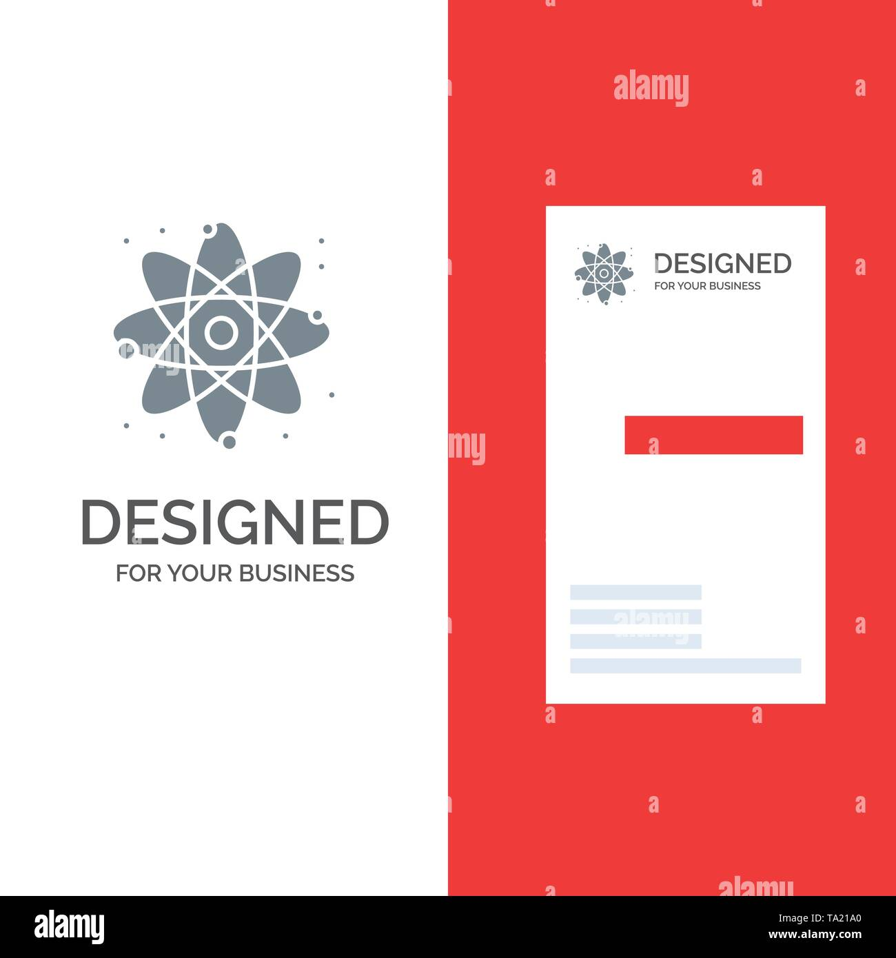 Physics, React, Science Grey Logo Design and Business Card Template - Stock Image