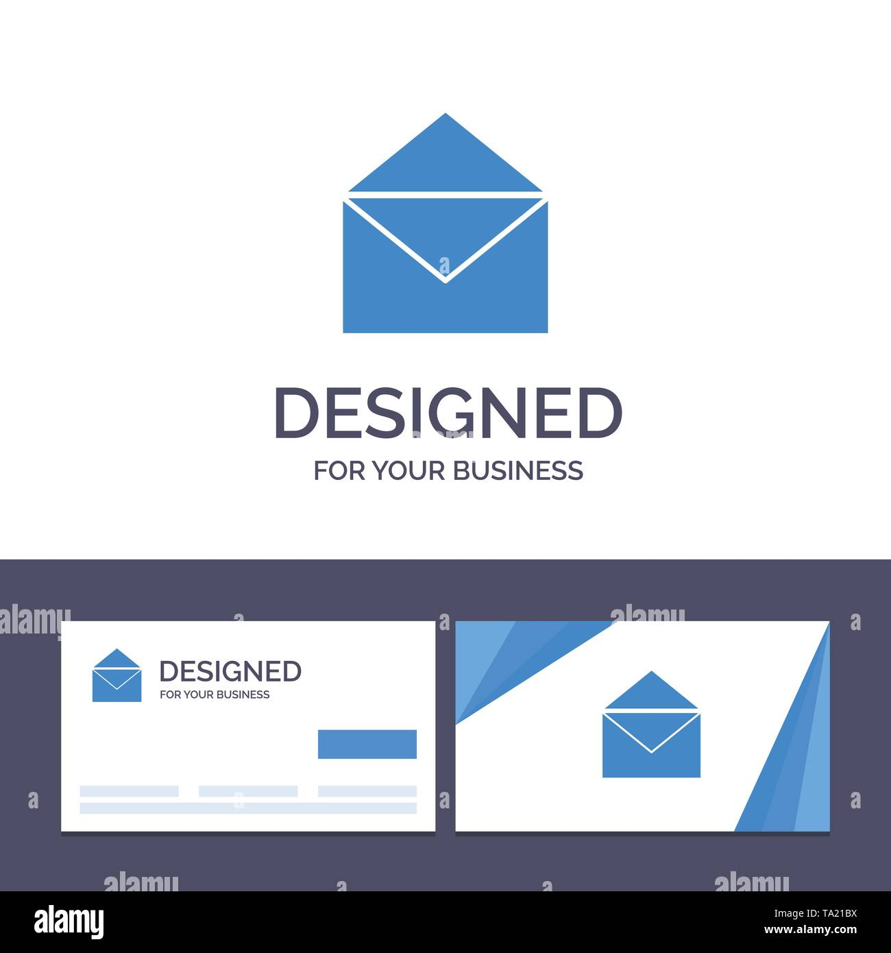 Creative Business Card and Logo template Email, Mail, Message, Open Vector Illustration - Stock Image