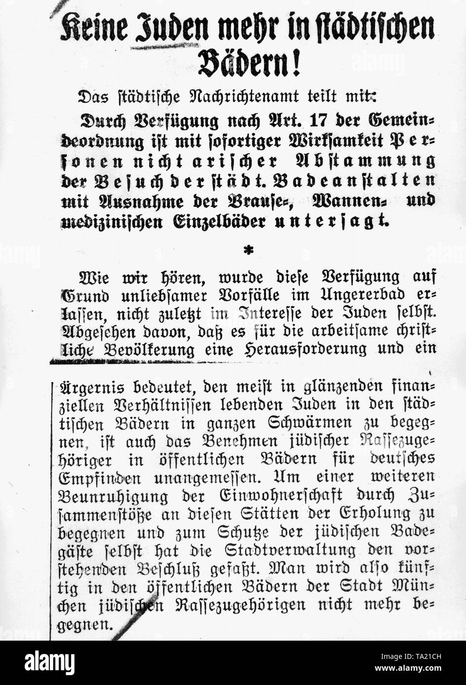 Regulation which prohibited Jews from visiting municipal baths. Newspaper excerpt from the Voelkischer Beobachter from 18.08.1933. - Stock Image