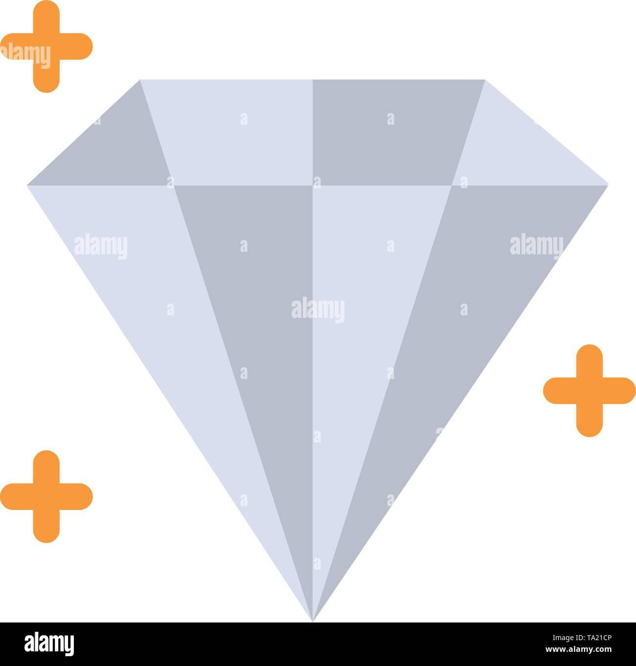 Diamond, Jewel, User  Flat Color Icon. Vector icon banner Template - Stock Image