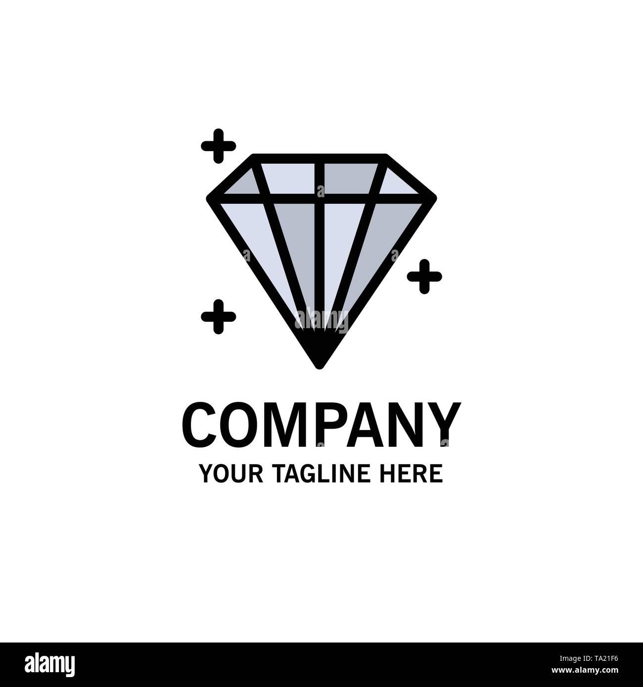 Diamond, Jewel, User Business Logo Template. Flat Color - Stock Image