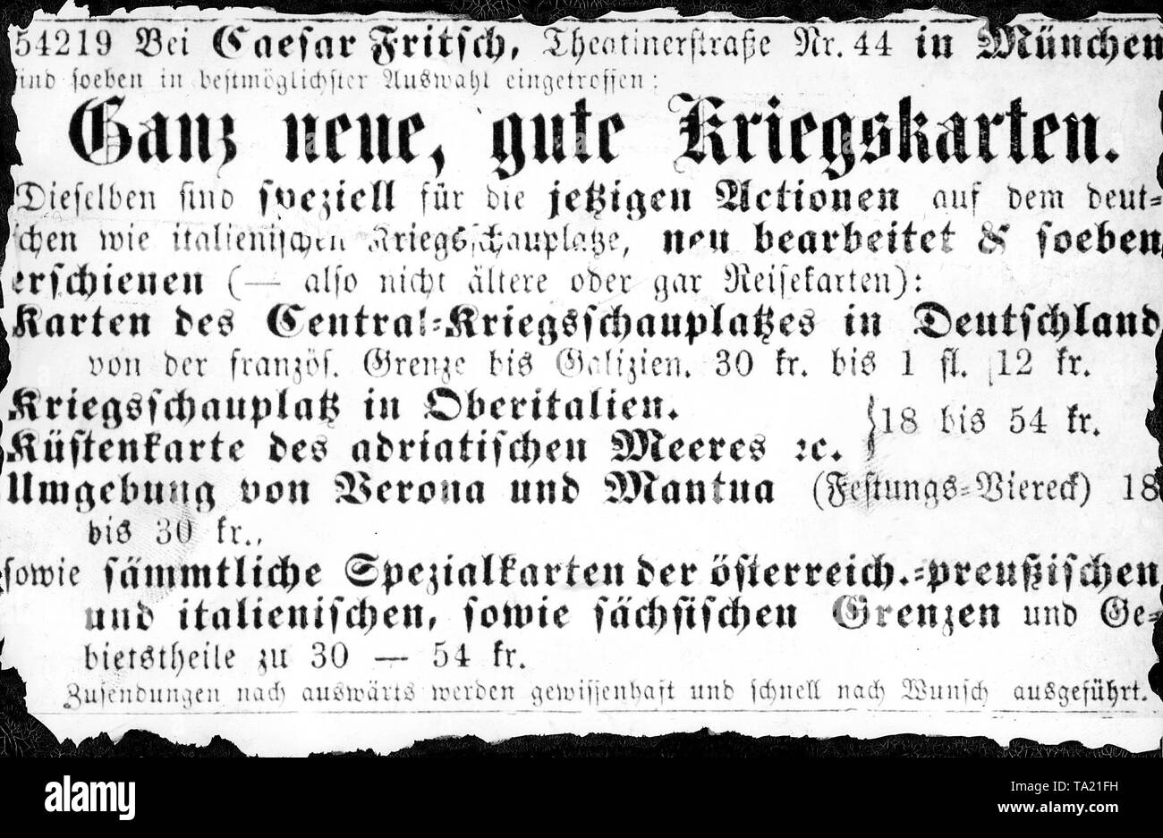 This newspaper advertisement related to the Austro-Prussian War in 1866 appeared in a Munich newspaper. - Stock Image