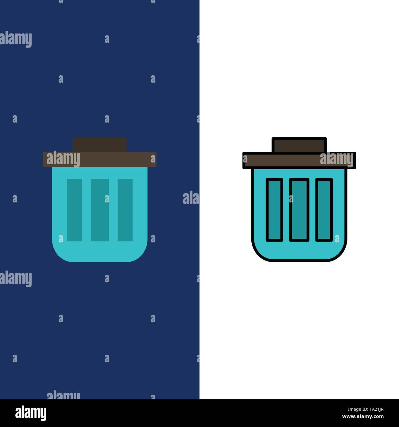 Trash, Basket, Bin, Can, Container, Dustbin, Office  Icons. Flat and Line Filled Icon Set Vector Blue Background - Stock Image