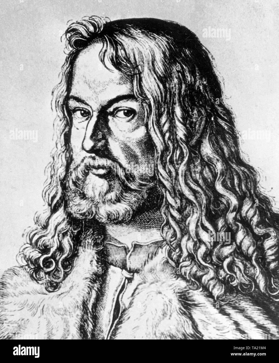 Self-portrait of the German painter and printmaker Albrecht Duerer (1471-1528). - Stock Image