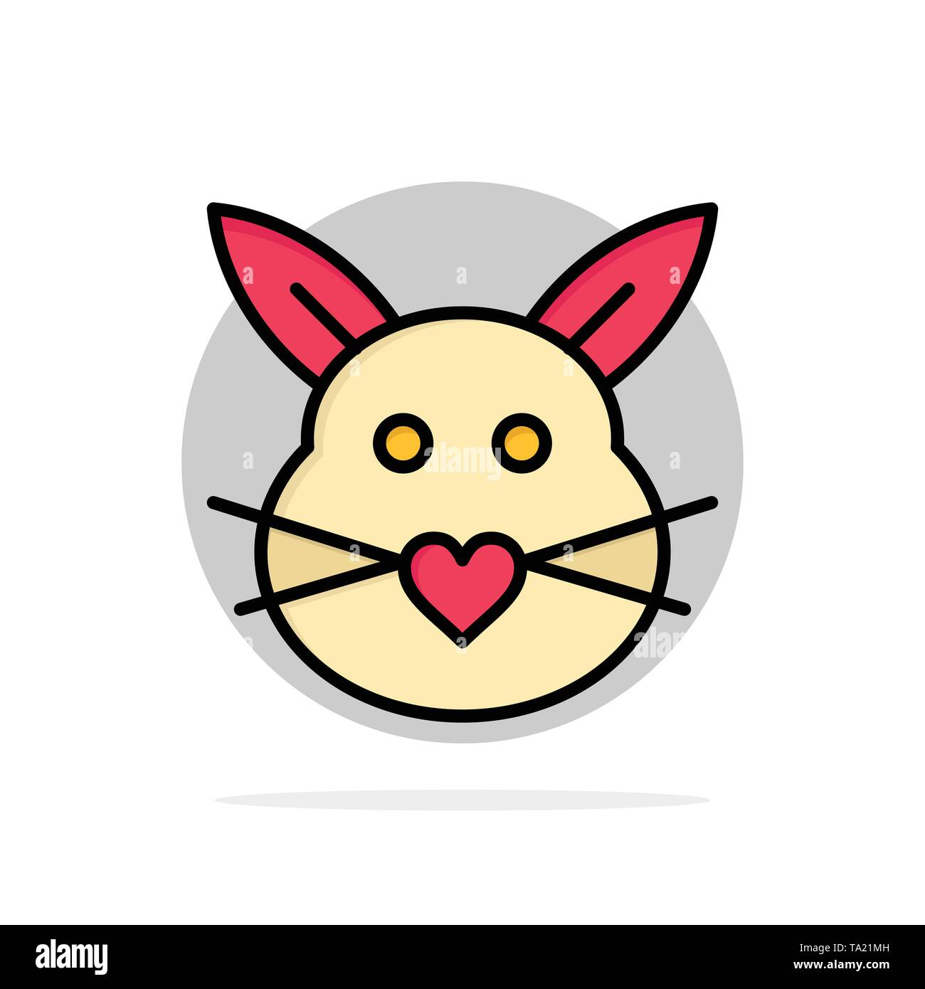 Rabbit, Bunny, Love, Cute, Easter Abstract Circle Background Flat color Icon - Stock Image