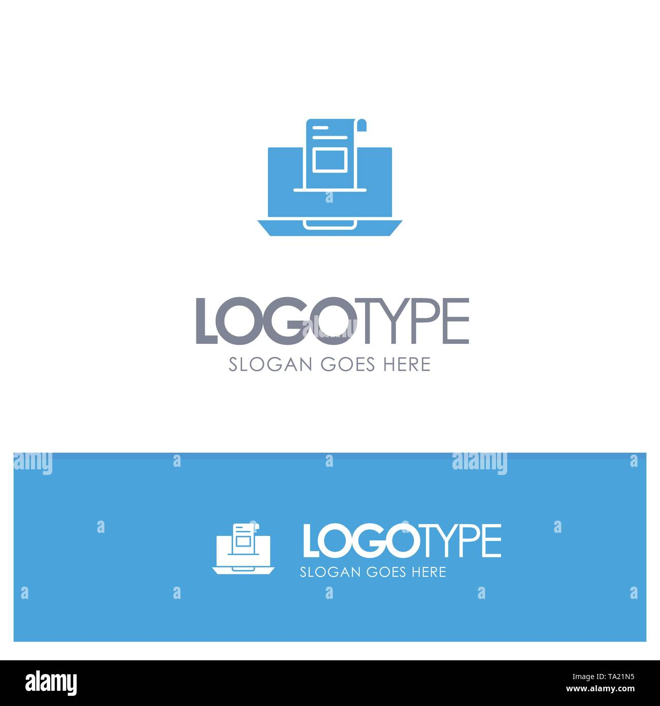 Email, Communication, Emails, Envelope, Letter, Mail, Message Blue Solid Logo with place for tagline - Stock Image