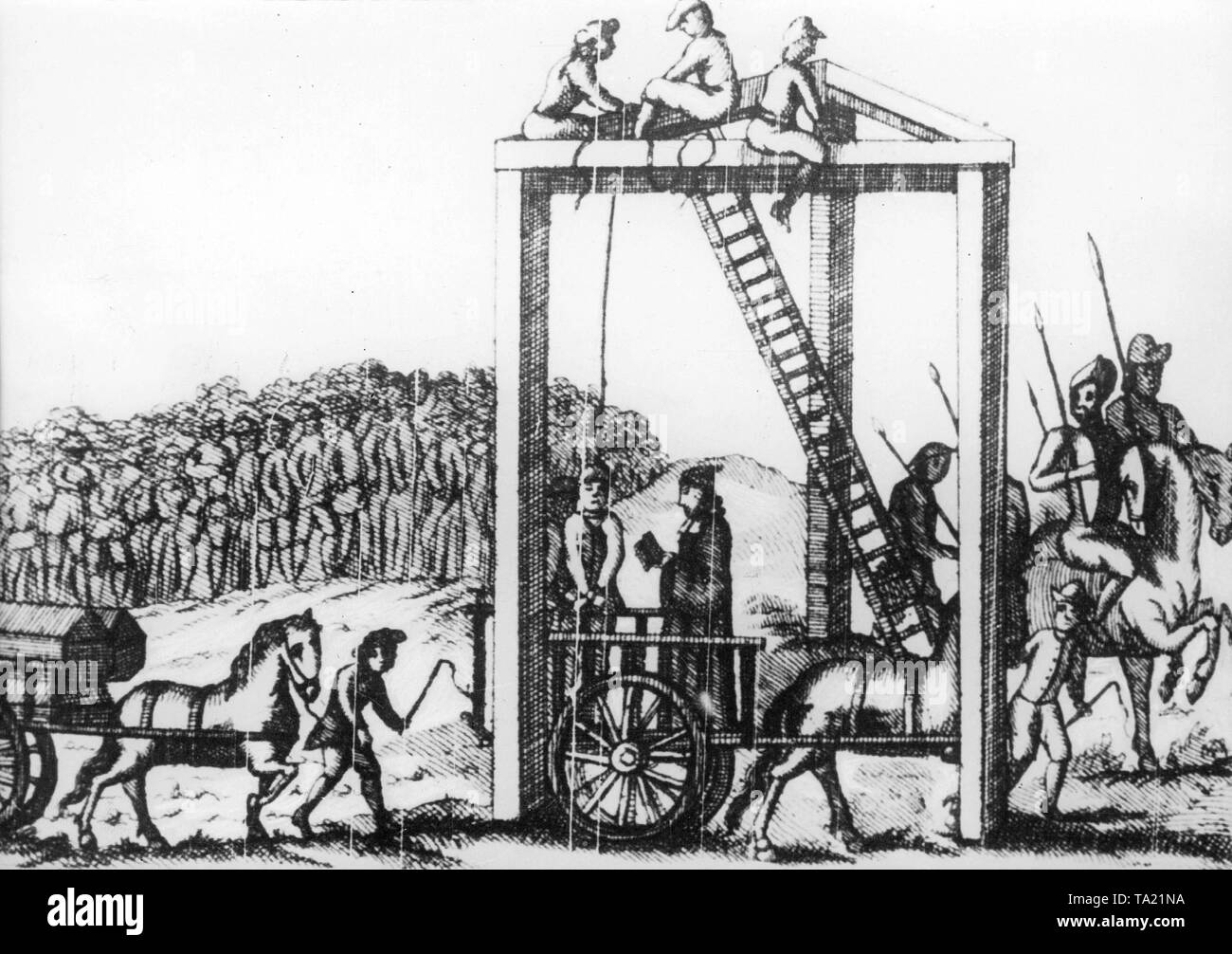 Solid gallows in Hampstead just outside London, here highwaymen are hanged on it. - Stock Image