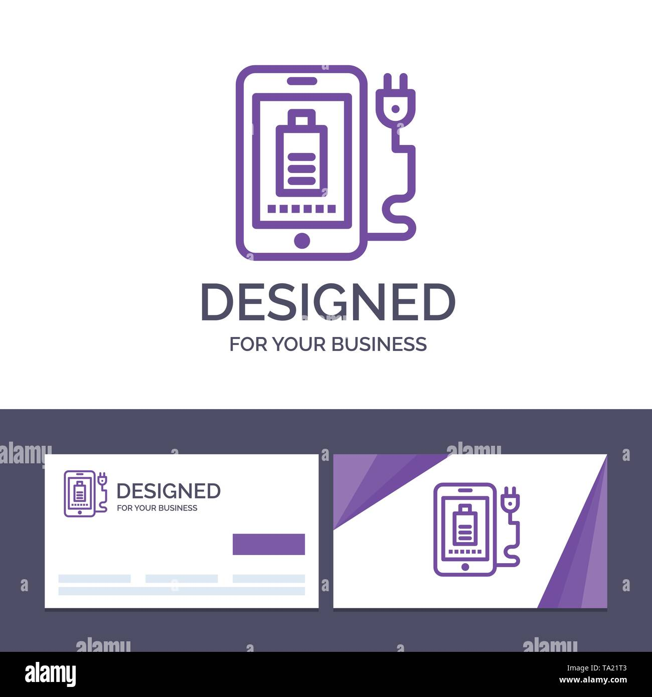 Creative Business Card and Logo template Mobile, Charge, Full, Plug Vector Illustration - Stock Image