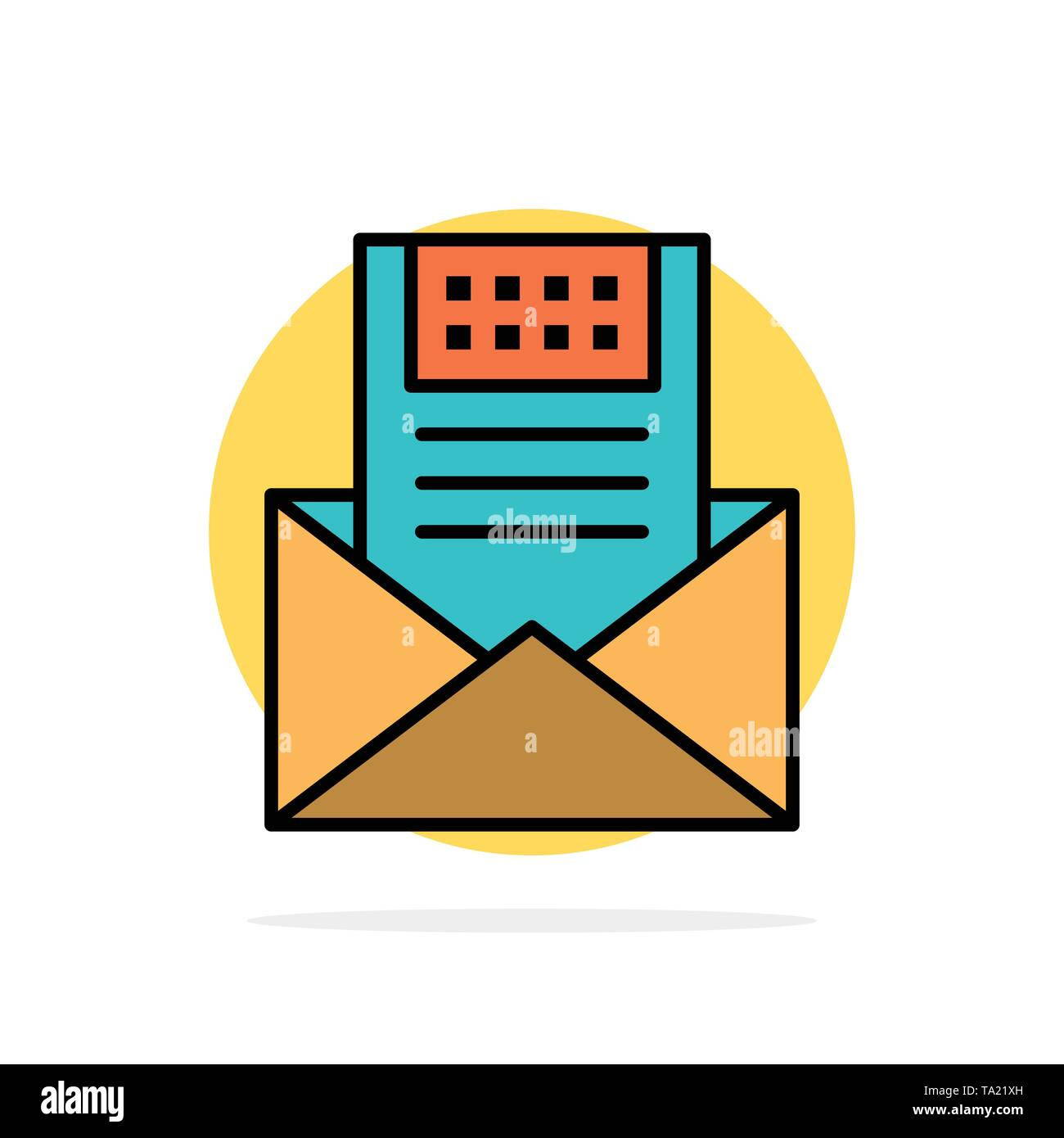 Email, Communication, Emails, Envelope, Letter, Mail, Message Abstract Circle Background Flat color Icon - Stock Image