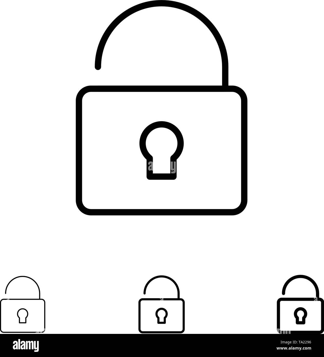 Unlock, Lock, Security Bold and thin black line icon set - Stock Image