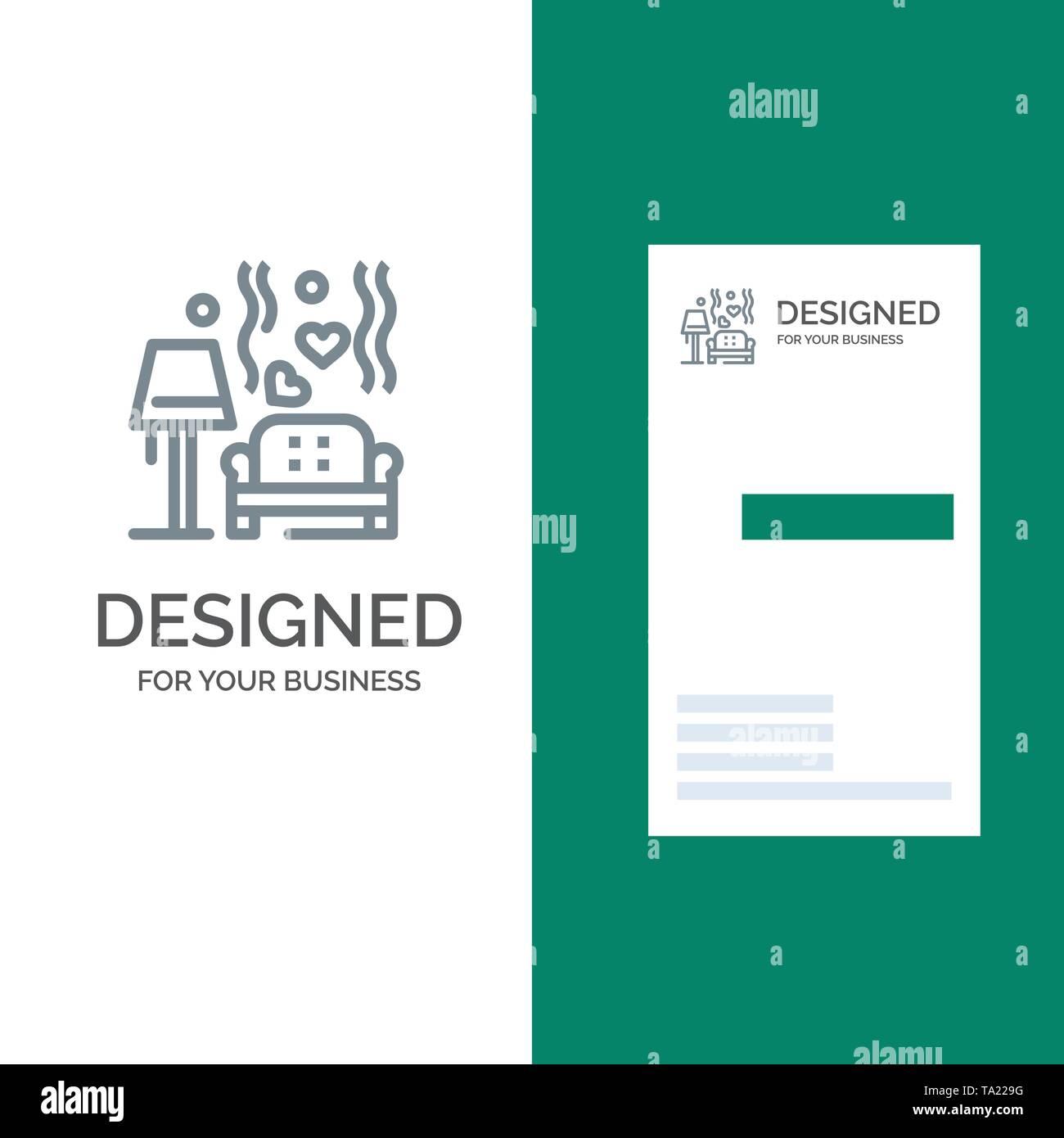 Lump, Sofa, Love, Heart, Wedding Grey Logo Design and Business Card Template - Stock Image