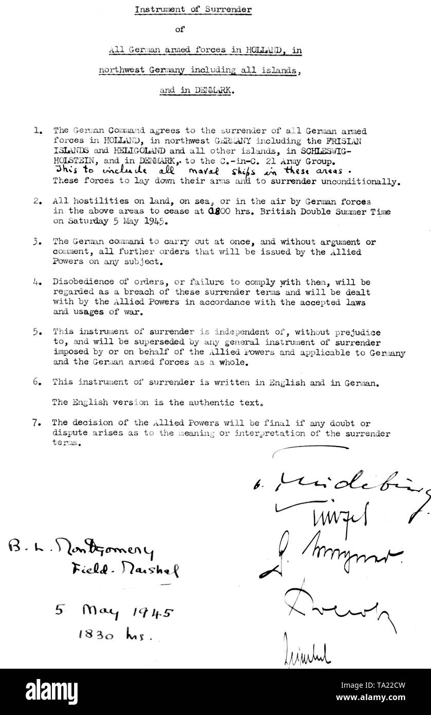 Surrender document of the leaders of the Wehrmacht by General Friedeburg near Lueneburg. Stock Photo