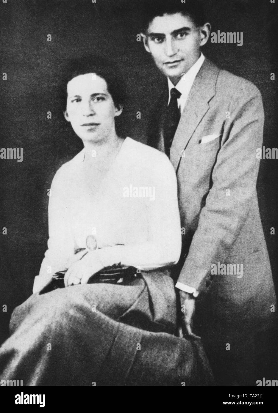 Franz Kafka and his fiancée Felice Bauer (recording undated). They got engaged two times in 1914 and in 1917. - Stock Image