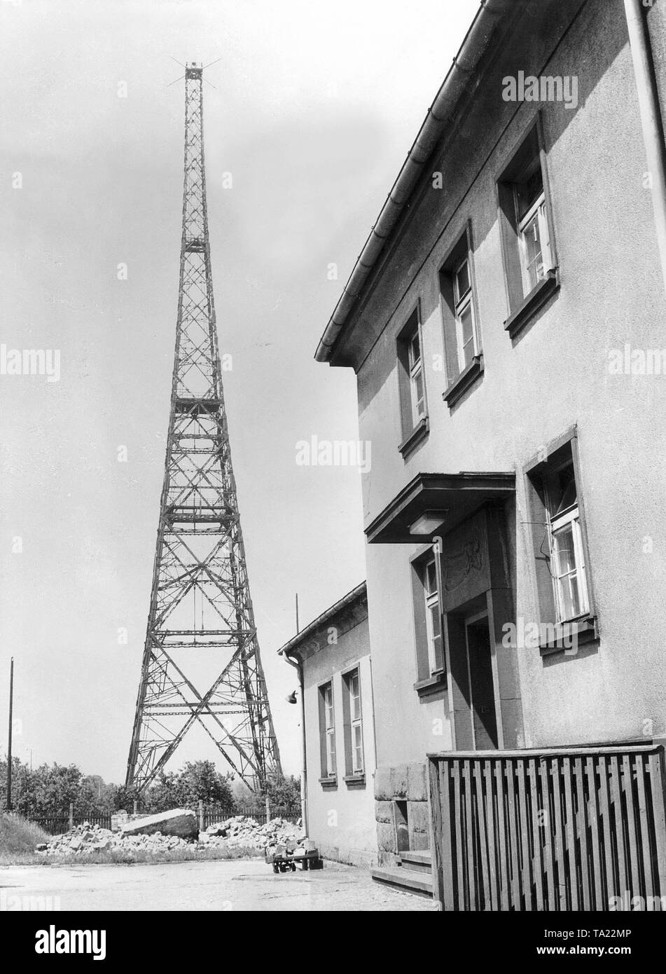Antenna and building of the Reich transmitter at Gleiwitz. - Stock Image
