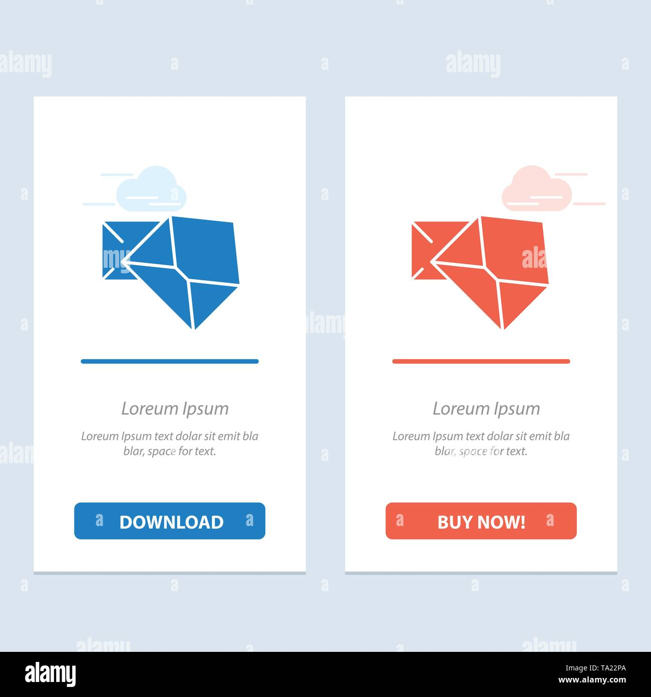 Business, Mail, Message, Open  Blue and Red Download and Buy Now web Widget Card Template - Stock Image