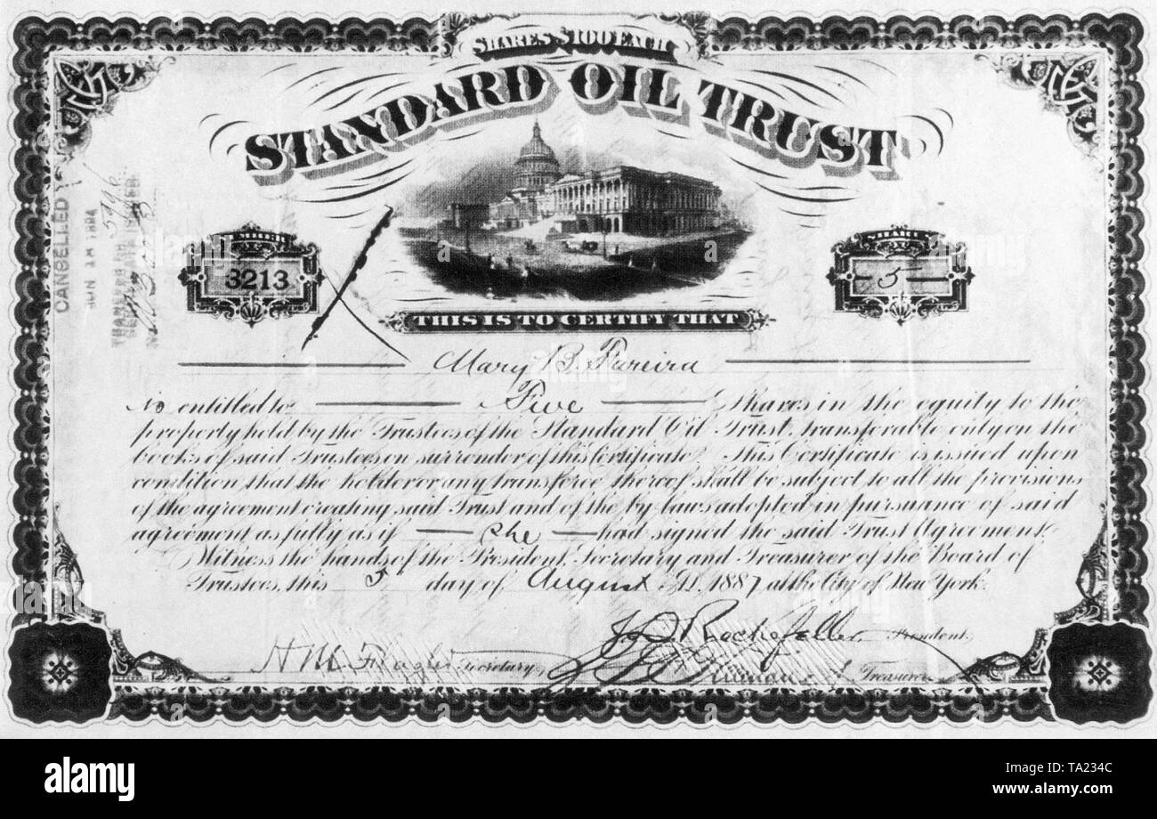 A stock certificate of the oil company Standard Oil, which was signed by the company founder John D. Rockefeller. - Stock Image