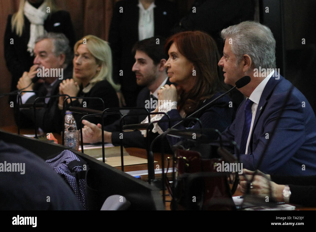 BUENOS AIRES, 21.05.2019: Cristina Kirchner, ex president of Argentina, shows at the Federal Court of Comodoro Py the first day of the oral and public Stock Photo