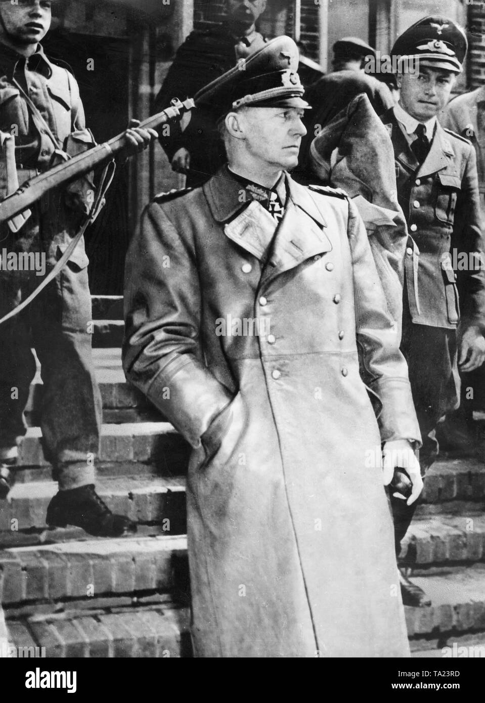 German military commander Alfred Jodl on his way to sign the German Instrument of Surrender in Reims on May 7. 1945 - Stock Image