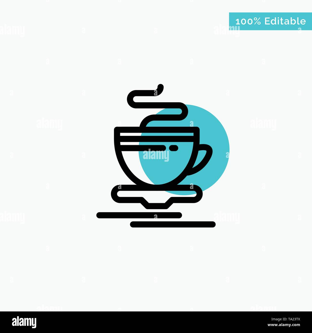 Tea, Cup, Hot, Hotel turquoise highlight circle point Vector icon - Stock Image