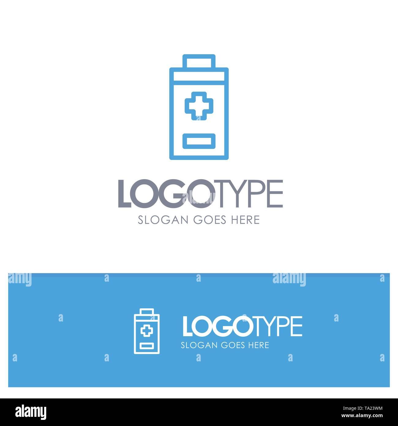 Battery, Minus, Plus Blue Outline Logo Place for Tagline - Stock Image
