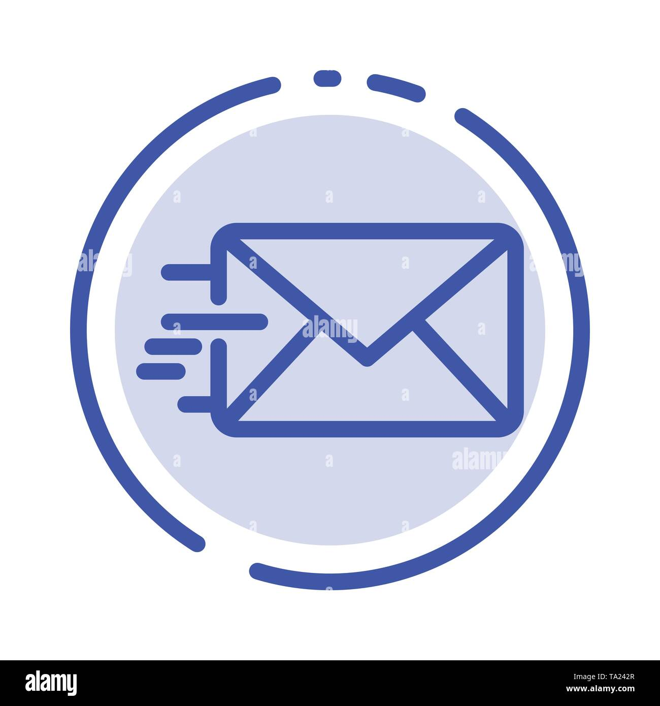 Email, Mail, Message Blue Dotted Line Line Icon - Stock Image
