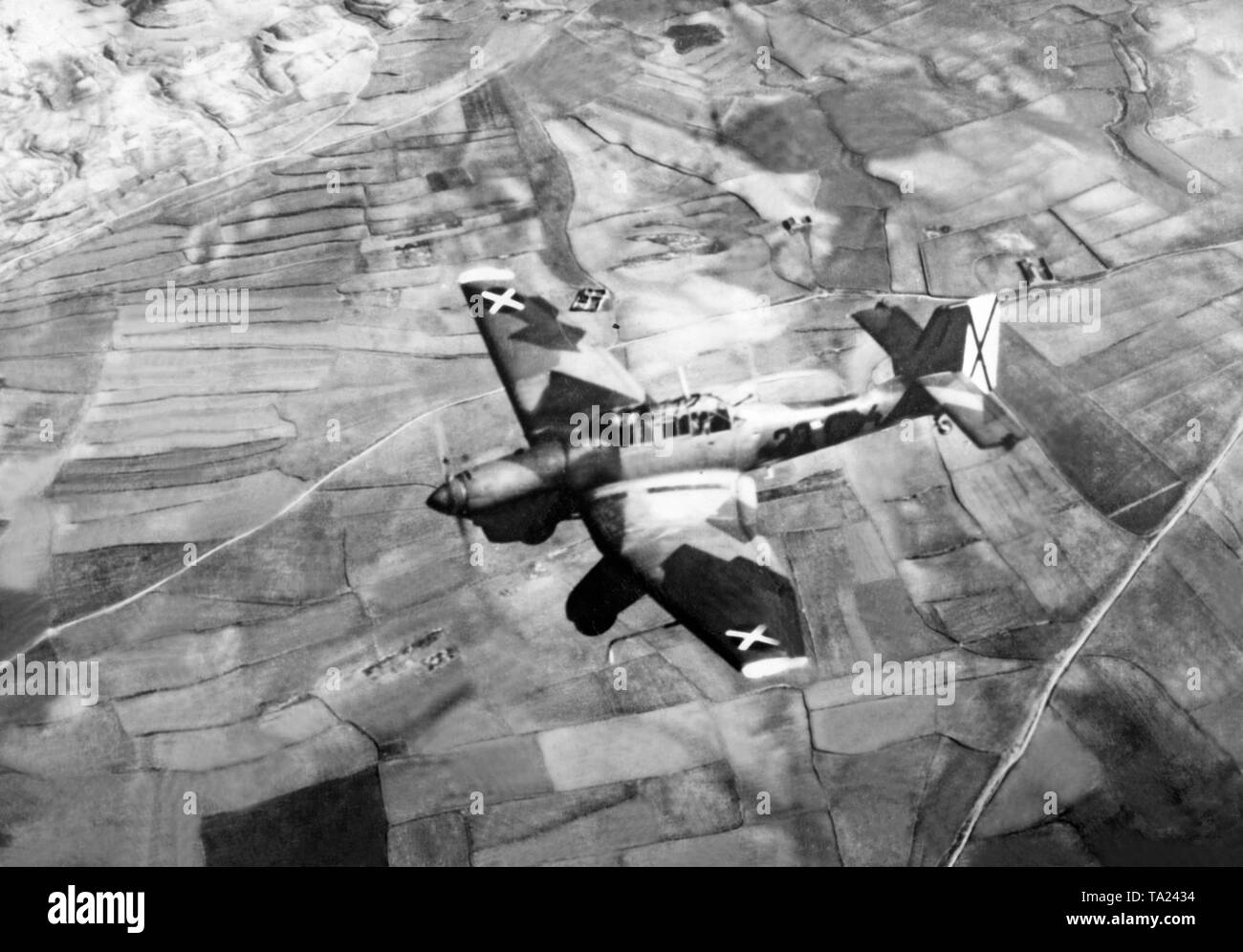 JU 87 bomber (Stuka) of the Condor Legion in mid-air in Spain, 1939. - Stock Image
