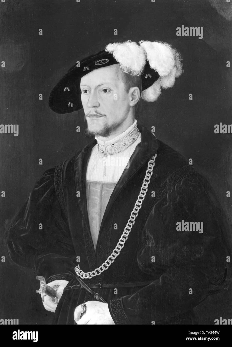 This painting by Bartel Beham is a portrait of Philip the Contentious. He was Count Palatine and Duke of Palatinate Neuburg from 1522. He was the son of Count Palatine Rupprecht at the Rhine and Elizabeth of Bavaria-Landshut. Undated painting Stock Photo